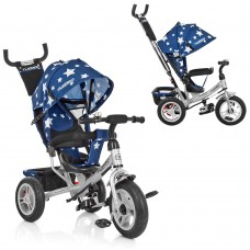 Велосипед трехколесный с ручкой детский Turbo Trike M 3113A-S11 надувные колеса, звезды синий