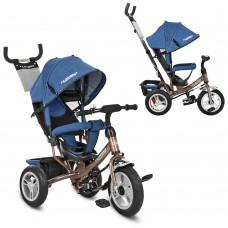 Велосипед трехколесный с ручкой детский Turbo Trike M 3113AJ-13 надувные колеса, джинс синий