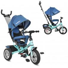 Велосипед трехколесный с ручкой детский Turbo Trike M 3113AJ-15 надувные колеса, джинс синий