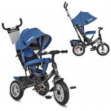 Велосипед трехколесный с ручкой детский Turbo Trike M 3113AJ-16 надувные колеса, джинс синий