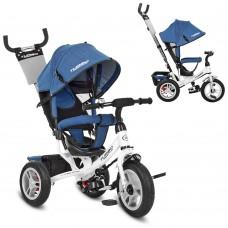 Велосипед трехколесный с ручкой детский Turbo Trike M 3113AJ-7 надувные колеса, джинс синий