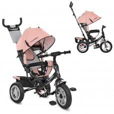 Велосипед трехколесный с ручкой детский Turbo Trike M 3113AL-10 надувные колеса, кожа розовый