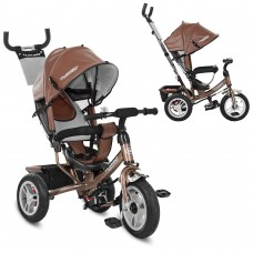 Велосипед трехколесный с ручкой детский Turbo Trike M 3113AL-13 надувные колеса, кожа шоколад