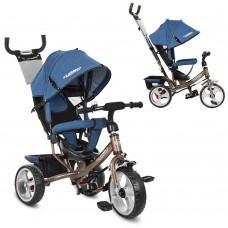 Велосипед трехколесный с ручкой детский Turbo Trike M 3113J-13 EVA колеса, джинс синий