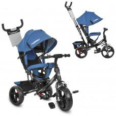 Велосипед трехколесный с ручкой детский Turbo Trike M 3113J-16 EVA колеса, джинс синий