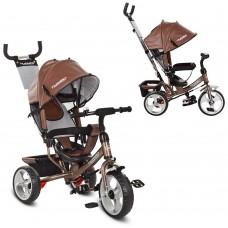 Велосипед трехколесный с ручкой детский Turbo Trike M 3113L-13 EVA колеса, кожа шоколад