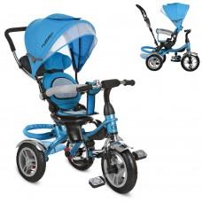 Велосипед трехколесный с ручкой детский Turbo Trike M 3114-5A, надувные колеса, голубой