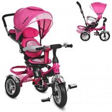 Велосипед трехколесный с ручкой детский Turbo Trike M 3114-6A, надувные колеса, розовый