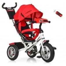 Велосипед трехколесный с ручкой детский Turbo Trike M 3115 3HA, надувные колеса, красный