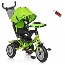 Велосипед трехколесный с ручкой детский Turbo Trike M 3115HA-4, надувные колеса,салатовый