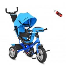 Велосипед трехколесный с ручкой детский Turbo Trike M 3115-5HA, надувные колеса, голубой