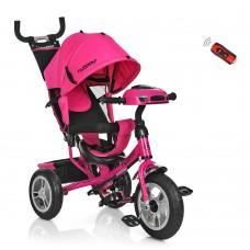 Велосипед трехколесный с ручкой детский Turbo Trike M 3115 - 6HA, надувные колеса, розовый
