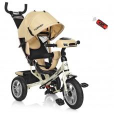 Велосипед трехколесный с ручкой детский Turbo Trike M 3115-7HA, надувные колеса, бежевый