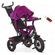 Велосипед трехколесный с ручкой детский Turbo Trike M 3115 - 8HA, надувные колеса, фиолетовый