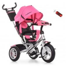 Велосипед трехколесный с ручкой детский Turbo Trike M 3115 HA - 10R, надувные колеса, розовый