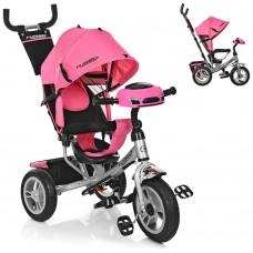 Велосипед трехколесный с ручкой детский Turbo Trike M 3115HA-10, надувные колеса, розовый