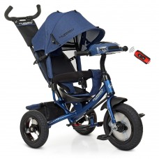 Велосипед трехколесный с ручкой детский Turbo Trike M 3115HA-11L, надувные колеса, лен, темно-синий
