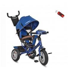 Велосипед трехколесный с ручкой детский Turbo Trike M 3115HA-11, надувные колеса, синий