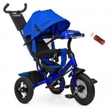 Велосипед трехколесный с ручкой детский Turbo Trike M 3115 HA - 14, надувные колеса, синий