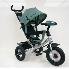 Велосипед трехколесный с ручкой детский Turbo Trike M 3115HA-17L, надувные колеса, лен, хаки