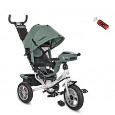 Велосипед трехколесный с ручкой детский Turbo Trike M 3115 HA - 17, надувные колеса, зеленый