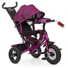 Велосипед трехколесный с ручкой детский Turbo Trike M 3115HA-18L, надувные колеса, лен, фуксия