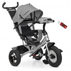 Велосипед трехколесный с ручкой детский Turbo Trike M 3115HA-19L, надувные колеса, лен, серый