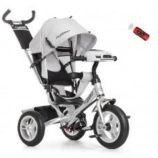 Велосипед трехколесный с ручкой детский Turbo Trike M 3115HA-19, надувные колеса, серый