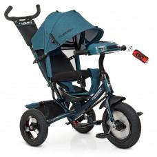 Велосипед трехколесный с ручкой детский Turbo Trike M 3115HA-21L, надувные колеса, лен, изумрудный