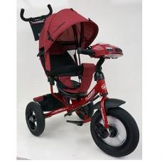 Велосипед трехколесный с ручкой детский Turbo Trike M 3115HA-3L, надувные колеса, лен, красный