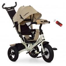 Велосипед трехколесный с ручкой детский Turbo Trike M 3115HA-7L, надувные колеса, лен, бежевый