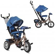 Велосипед трехколесный с ручкой детский Turbo Trike M 3115HAJ-13, надувные колеса, джинс синий