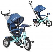Велосипед трехколесный с ручкой детский Turbo Trike M 3115HAJ-15, надувные колеса, джинс синий