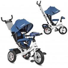 Велосипед трехколесный с ручкой детский Turbo Trike M 3115HAJ-7, надувные колеса, джинс синий