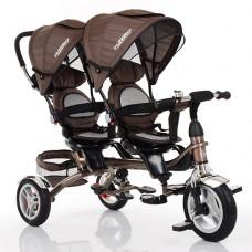 Велосипед трехколесный с ручкой детский Turbo Trike M 3116 TW - 13A, надувные колеса, для двойни, коричневый