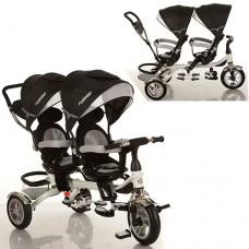 Велосипед трехколесный с ручкой детский Turbo Trike M 3116 TW - 3A, надувные колеса, для двойни, черный