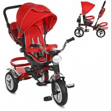 Велосипед трехколесный с ручкой детский Turbo Trike 3199-3HA надувные колеса, красный