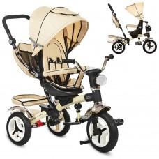 Велосипед трехколесный с ручкой детский Turbo Trike 3199-7HA надувные колеса, бежевый