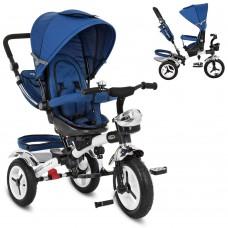 Велосипед трехколесный с ручкой детский Turbo Trike 3200A-11 надувные колеса, синий