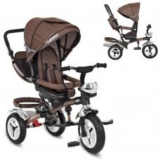 Велосипед трехколесный с ручкой детский Turbo Trike 3200-13HA надувные колеса, шоколад