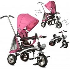 Велосипед трехколесный с ручкой детский Turbo Trike 3212A-4 2 в 1 беговел трансформер, надувные колеса, розовый