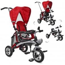 Велосипед трехколесный с ручкой детский Turbo Trike 3212A-5 2 в 1 беговел трансформер, надувные колеса, красный