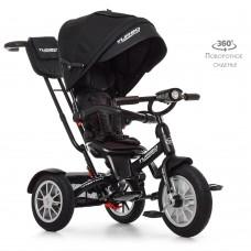 Велосипед трехколесный с ручкой детский Turbo Trike M 4057-20, надувные колеса, черный