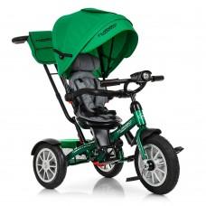 Велосипед трехколесный с ручкой детский Turbo Trike M 4057-4, надувные колеса, зеленый