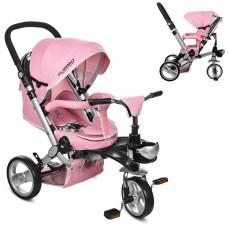 Велосипед трехколесный с ручкой детский Turbo Trike M AL 3645-10 EVA колеса, алюминиевая рама, розовый