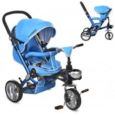 Велосипед трехколесный с ручкой детский Turbo Trike M AL 3645-12 EVA колеса, алюминиевая рама, голубой