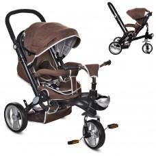 Велосипед трехколесный с ручкой детский Turbo Trike M AL 3645-13 EVA колеса, алюминиевая рама, шоколад