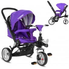 Велосипед трехколесный с ручкой детский Turbo Trike M AL 3645-8 EVA колеса, алюминиевая рама, фиолетовый