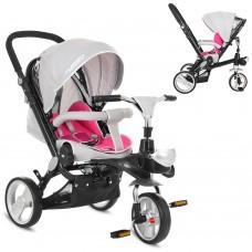 Велосипед трехколесный с ручкой детский Turbo Trike M AL 3645-9 EVA колеса, алюминиевая рама, серо-розовый