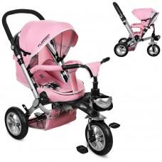 Велосипед трехколесный с ручкой детский Turbo Trike M AL 3645A-10 надувные колеса, алюминиевая рама, нежно-розовый